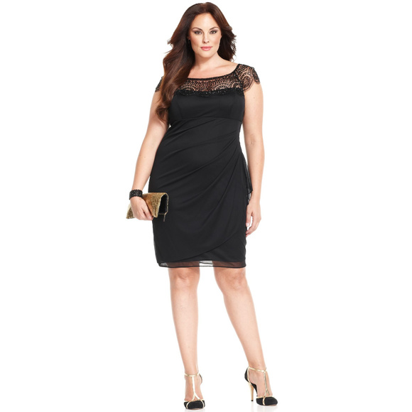 Women\'s Black Xscape Plus Size Dress